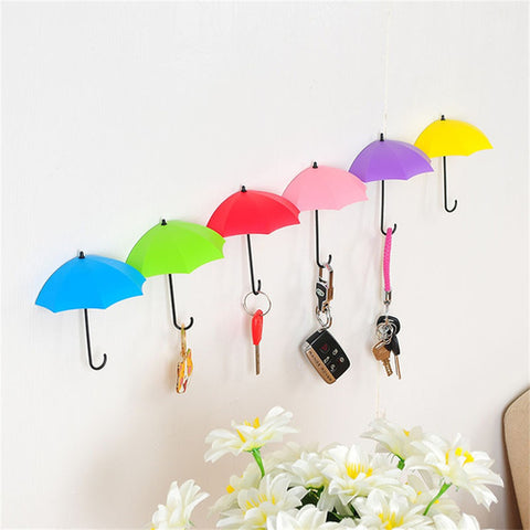 6 Piece Colorful Umbrella Wall Hooks