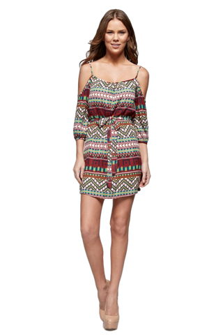 Aztec Printed Cold Shoulder Tank Dress