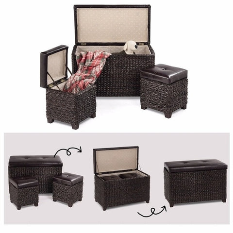 3-Piece Bench Foot Rest Rattan Stools