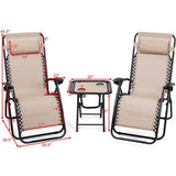 3PC Zero Gravity Reclining Lounge Chairs