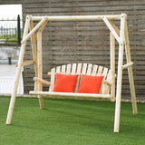 Rustic Wooden Porch Swing Bench With Frame