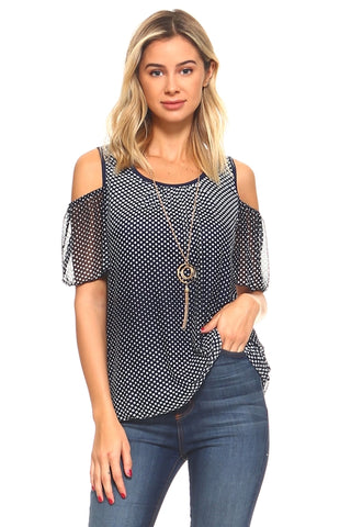 Josie Cold Shoulder Top With Added Necklace