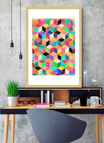 Geometric Cubes Framed Artwork
