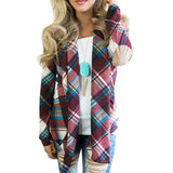 Plaid Printed Patched Cardigan