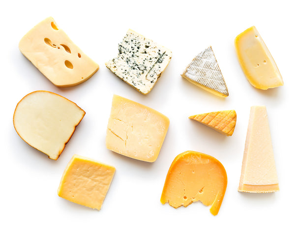 Cheese Variation on white background