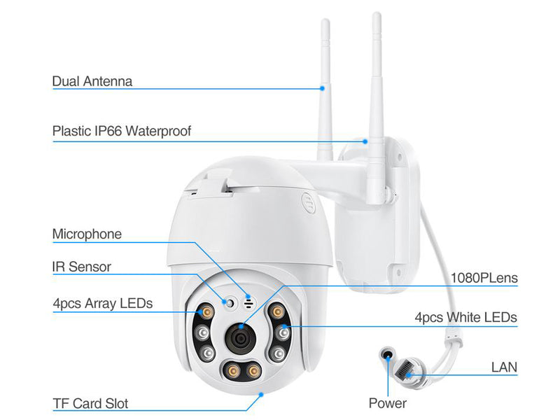 Techage 5MP PTZ WIFI IP Camera Outdoor Wireless AI Security Camera Two Way Audio