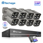 Techage 8CH 5MP POE NVR Two Way Audio Outdoor Video Security Surveillance Set