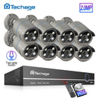 Techage 8CH 1080P POE NVR Kit Security System 2MP AI Camera IR Outdoor Video Surveillance Set