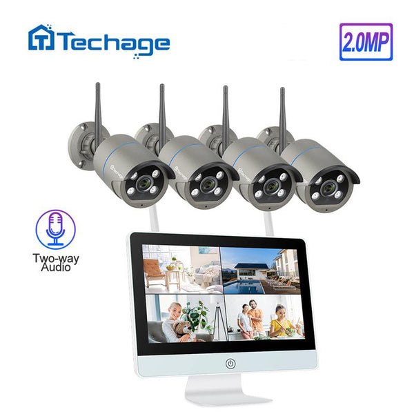 "Techage 8CH Wireless CCTV Camera 2MP 12""LCD Monitor  WIFI Two-way Audio Surveillance NVR System"