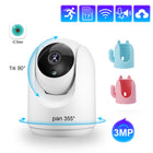 3MP Rechargeable Battery Powered Two Way Audio 2.4G Wifi Wireless Home Security Camera Support SD Card