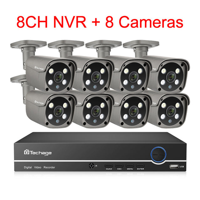 Techage H.265 8CH 5MP POE NVR Two Way Audio Outdoor Video Security Surveillance Set