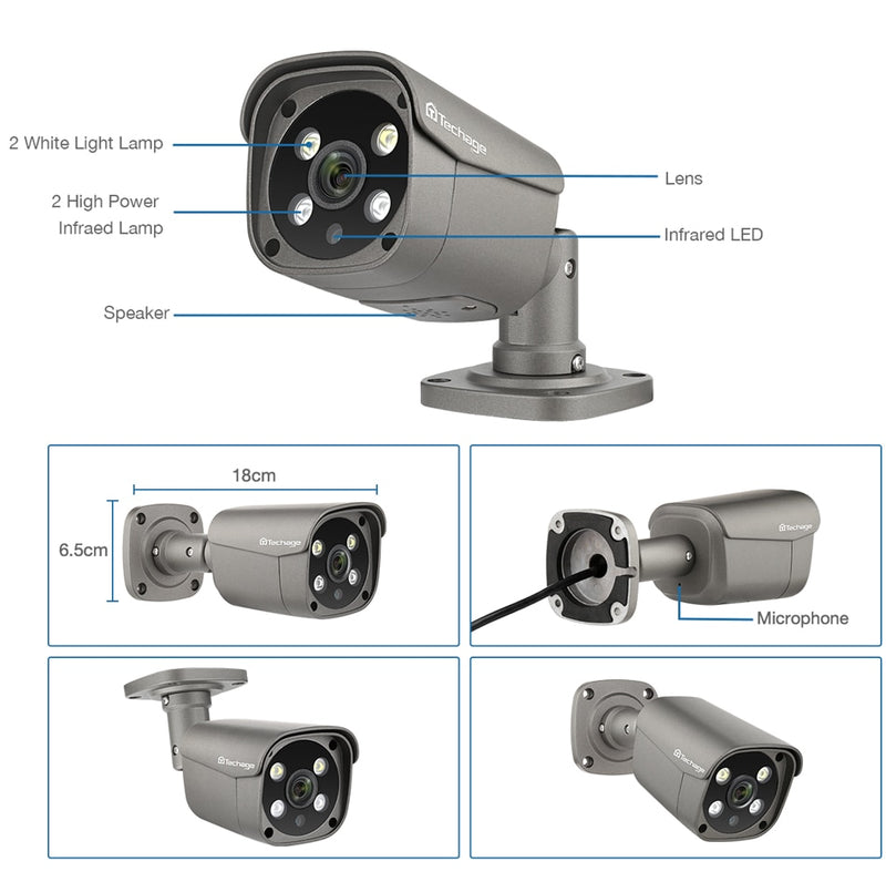 Techage 5MP POE IP AI Camera Human Detection Two Way Audio Camera ONVIF for NVR System