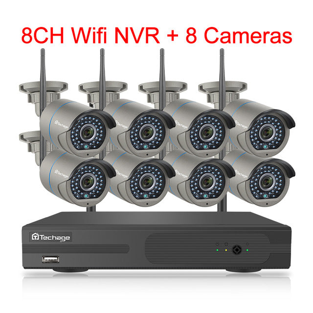 H.265 8CH Wireless CCTV System 1080P 2MP NVR IP Camera Two-way Audio  VideoSurveillance Kit