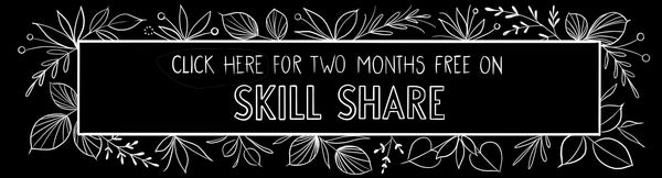 Sign up for two months free on skill share surrounded by floral illustration