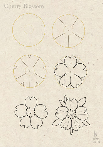 step by step drawing of a very simple cherry blossom flower design by Lu Loram-Martin