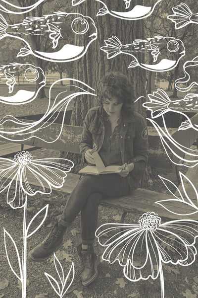 Lu Loram-martin drawing with puffer fish and floral illustrations
