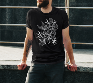 peony t-shirt, white print on black tshirt, by Lu Loram-Martin,  Toronto