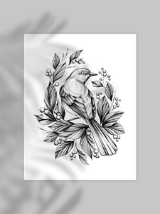 Fineline bird illustration, as an art print on white paper, with grey background, made by Lu Loram-Martin