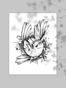 Fineline Dead bird illustration, as an art print on white paper, with grey background, made by Lu Loram-Martin