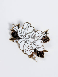 Floral enamel pin, on white background, made by Lu Loram-Martin