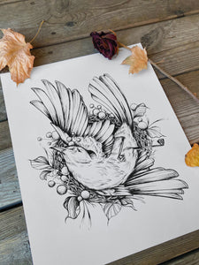 Dead bird illustration, as an art print on white paper, with dried roses and leaves, made by Lu Loram-Martin