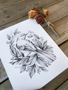 bird illustration, as an art print on white paper, with dried roses and leaves, made by Lu Loram-Martin