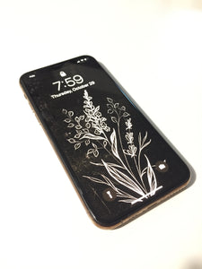 Beautiful wildflower illustration phone background, white florals on black, by Lu Loram-Martin. Toronto tattoo artist and illustration