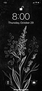 Beautiful wildflower illustration phone background, white florals on black, by Lu Loram-Martin. Toronto tattoo artist and illustration, iphone