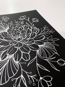 "YOUR OWN 8.5x11"" ORIGINAL FLORAL DRAWING"