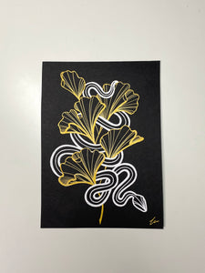 floral illustration custom snake gingko