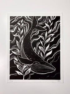 whale original linocut,  printed on Japanese paper, limited edition, by Lu Loram-Martin,  Toronto