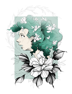 Portrait illustration with delicate floral elements, with green/blue hair and background, by Lu Loram-Martin, Toronto