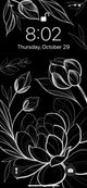 fineline lotus flower illustration phone background, white florals on black, by Lu Loram-Martin. Toronto tattoo artist and illustrator