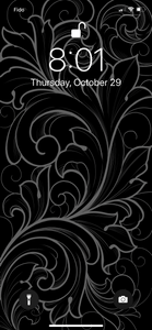 Delicate Ornamental illustration phone background, white florals on black, by Lu Loram-Martin. Toronto tattoo artist and illustrator