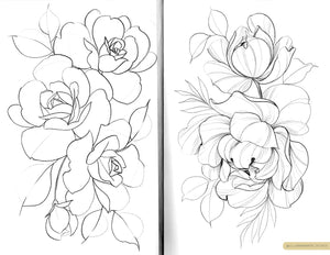 Delicate floral pencil sketches of rose designs on white paper, by Lu Loram-Martin. Tattoo artist and illustrator, based in Toronto.