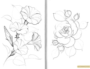 Delicate floral pencil sketches of morning glories and rose designs on white paper, by Lu Loram-Martin. Tattoo artist and illustrator, based in Toronto.