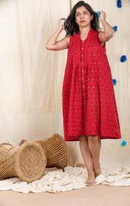 Poppy Red Ikat Dress
