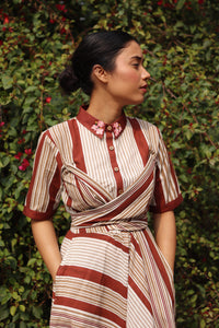 Brandy Stripe Tie-Up Dress