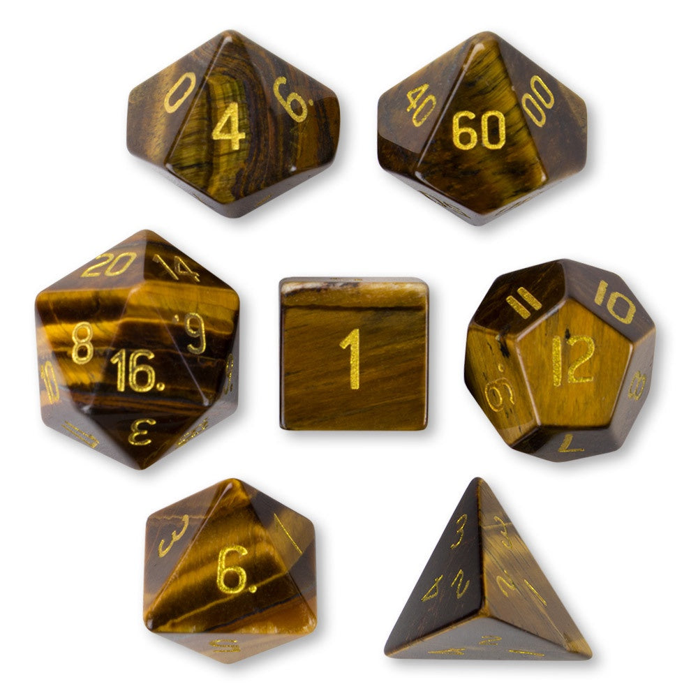 Dice WD: Handmade Stone (Poly) - Tiger's Eye