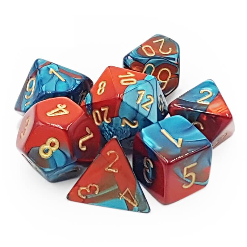 Dice: Chessex - Gemini - Poly, Red-Teal/Gold (x7)