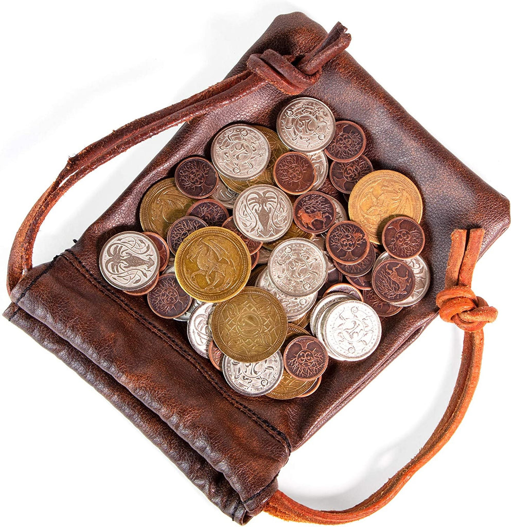 Brybelly - Metal Coins with Leather Bag, The Dragon's Hoard (x60)