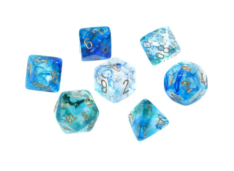 Dice: Chessex - Nebula - Poly Set (x7) - Luminary, Oceanic/Gold