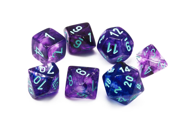 Dice: Chessex - Nebula - Poly Set (x7) - Luminary, Nocturnal/Blue