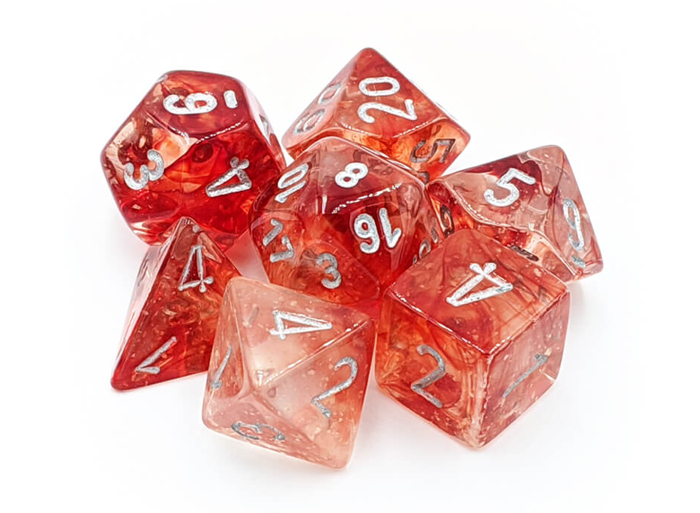 Dice: Chessex - Nebula - Poly Set (x7) - Luminary, Red/Silver
