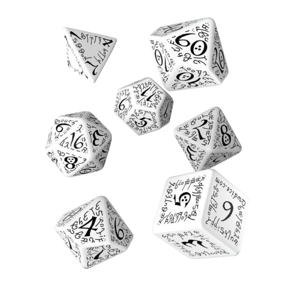 Dice: Q Workshop - Elvish Poly, White & Black (x7)