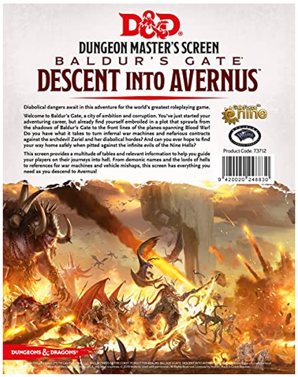D&D RPG: Baldur's Gate - Descent into Avernus - DM Screen