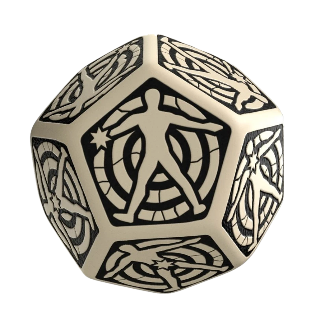 Dice: Q Workshop - D12 Hit Dice, Beige/Black