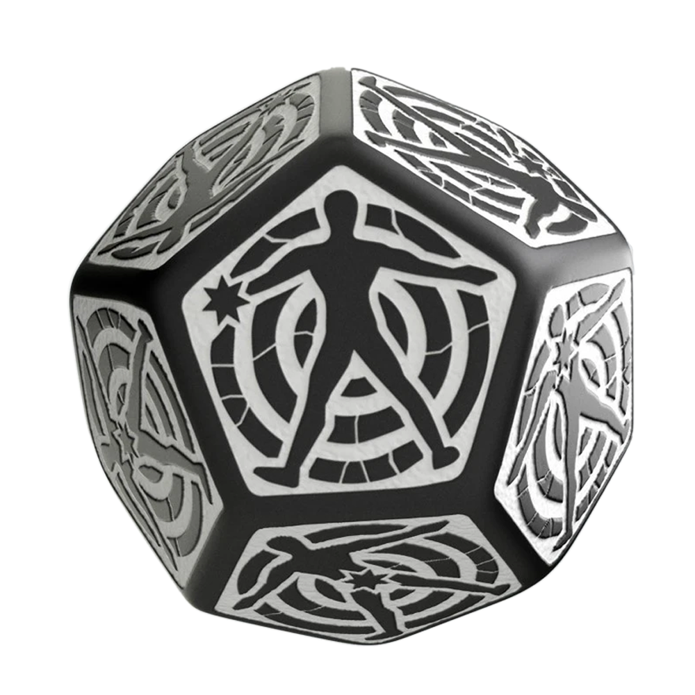 Dice: Q Workshop - D12 Hit Dice, White/Black