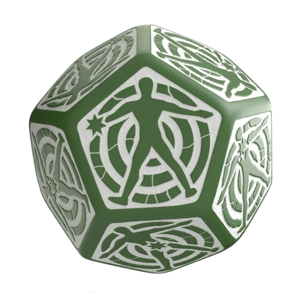 Dice: Q Workshop - D12 Hit Dice, Green/White