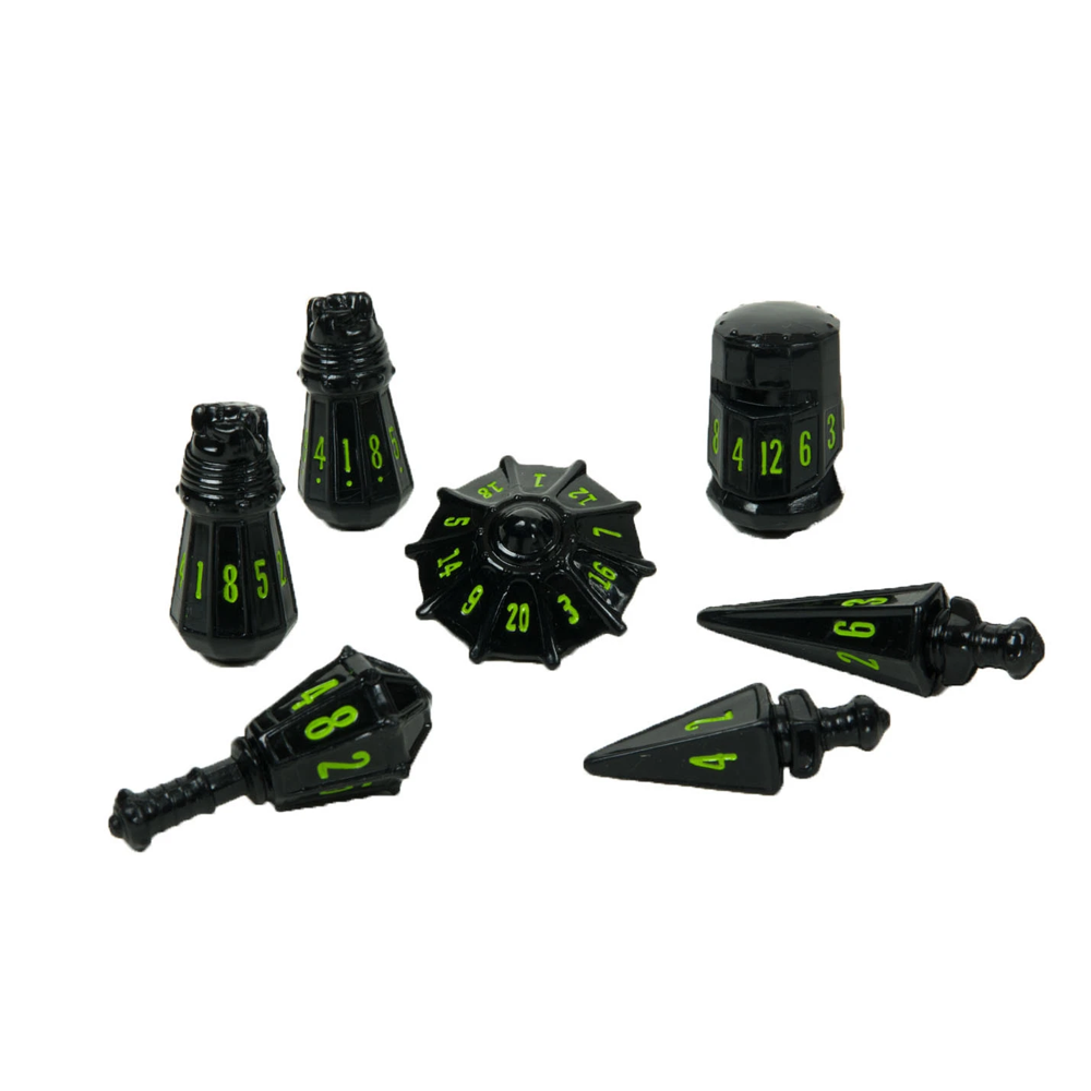 Dice: PolyHero - Warrior - Poly Set, Black/Goblin Green (x7)